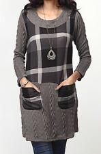 XL NWT Women's Reborn Charcoal Cable Knit & Plaid Pocket LS Tunic