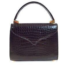 Lana Marks Black Alligator Handbag Convertible Shoulder Bag / Purse Gold Trim