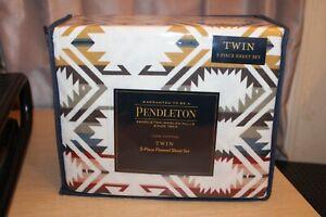 PENDLETON Flannel Sheet Set 3 Piece Cotton Washable White S Multi Aztec TWIN NEW
