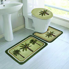 Bathroom Bath Non-Slip Rug Mat Set & Toilet Lid Cover 3PC PALM TREE