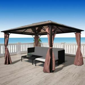 Outdoor Garden Gazebo with Curtain Marquee Tent Sides Canopy Sun Shade 400x300cm