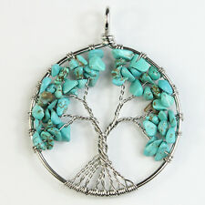 Green Turquoise Chip Beads Tree of Life Silver Round Pendant Fit Necklace DIY