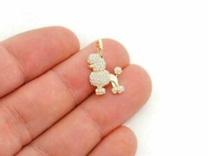 3Ct Round Cut VVS1/D Diamond Poodle Dog Pendant 14K Yellow Gold Over Free Chain