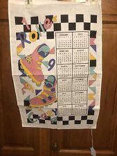 Vintage 1994 Linen Fabric Tea Towel Wall Calendar Roller Crazy