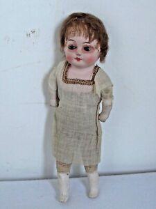 """Antique Paper Mache Shoulder Head Doll Original Clothes """"Patent Washable Doll"""""""