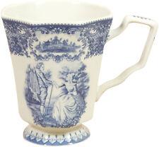 Tazza da tè in stile inglese L9xPR12xH13 cm in ceramica decorata bianca e blu