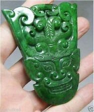 CHINESE OLD HANDWORK GREEN JADE CARVED FACE PENDANT