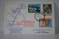 LETTRE CARTE TRAVERSEE DE L'ALTANTIQUE MERMOZ 40 2ME ANNIVERSAIRE 1970 ARGENTIN