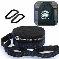 Adjustable Tree Hammock Straps with Set of Steel Carabiners for Camping (BLUE)