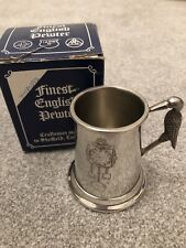 Pewter Christening Tankard Stork Handle & Box Vintage English Made in Sheffield