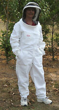 Beekeeping - white bee suit / overall, with removable, zipped fencing style hood