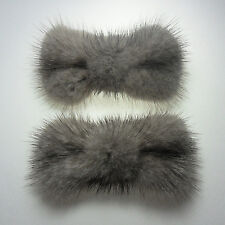 Gray ribbon real mink fur decorative shoe clips formal ornament charm