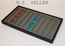 10 SLOT WOOD JEWELRY NECKLACE/BRACELET CASE WITH GRAY INSERT