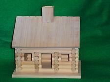 Unfinished Wood Decorative Lincoln Log Cabin Birdhouse