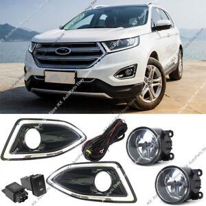 For Ford Edge 2015-2018 Front Bumper Bezel Fog Lights Lamps k Harness Switch Kit