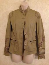 PRINCY JESSICA SIMPSON GREEN EMBROIDERED JACKET (S) 100% COTTON CASUAL SOLID