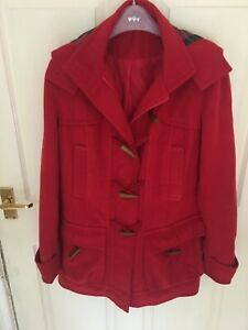 Lovely New Red Genuine Duffle Coat with Hood Size Medium