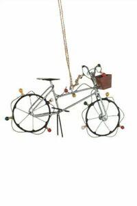 Shoeless Joe Silver Bike with Fairy Lights - Novelty Christmas Tree Decoration