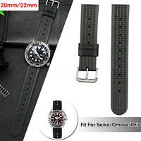 Cinturino per orologio da sub in gomma nera da 20 mm / 22 mm