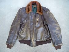Vintage WW2 Era Leather Mens Bomber Flight Aviator Jacket Horsehide & Alpaca Med