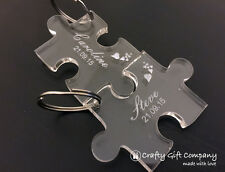 Personalised Mothers Day Wedding Engraved Puzzle Piece Keyring Set Gift Present