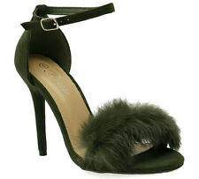NEW Women Ankle Strap Fur Stiletto Denim Open Toe Chunky Block High Heels Sandal