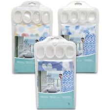 """10-PACK Beautiful and Bright Shower Curtain and Plastic Hooks Set, 71"""" x 71"""""""