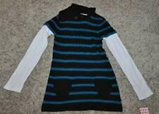 NWT $36-Girls Energie Blue & Black Striped Long Sleeve Cowlneck Sweater-sz L 14