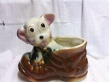 Vintage Porcelain Puppy With Shoe Planter