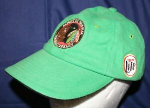 Vtg Green CHICAGO BLACKHAWKS Hockey Hat Cap MILLER LITE Beer 75th Anniversary