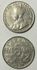 1924 ~ CANADA ~ 5 CENTS ~ GEORGE V ~ G6 condition