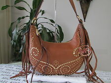 NWT Michael Kors Leather Rhea Studded Small Slouchy Shoulder Bag Hobo Luggage