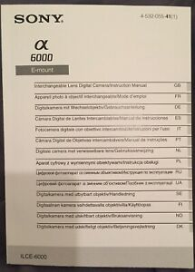 Sony Aplha a6000 Manual - Printed A5 - In 14 Languages - NEW 536 Pages.