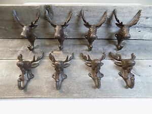 8 Rustic Elk Deer Moose Head Hooks Cast Iron Coat Hook Rack Restoration Hat