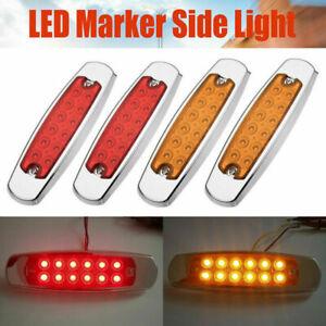 12 LED Sealed Side Marker Clearance Light Lamp Fish Shape Trailer 2 Red 2 Amber