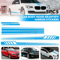 5x Universal Car Side Body Stripe Sticker DIY Decal Hood Rear View Mirror Blue