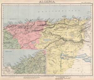 ALGERIA. North Africa. Algier Algiers Oran Constantine. LETTS 1889 old map