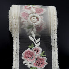 2 Yards Embroidered Tulle Vintage Floral Lace Trim Bridal Dress Doll Sewing DIY