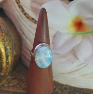 Larimar Emotional Healing Gemstone Ring US 7 (E1857)