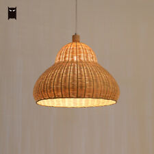 Bamboo Wicker Rattan Gourd Pendant Light Fixture Country Hanging Ceil Lamp House