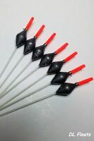 5x `DL` HAND MADE POLE FLOATS `POWER DIAMONDS` Margin, Shallow. Red Tips 0.3g