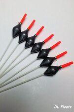 5x `DL` HAND MADE POLE FLOATS `POWER DIAMONDS` 0.2g Margin, Shallow. Red Tips