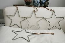 4 Sparkly Star Decorations taupe velvet ribbons