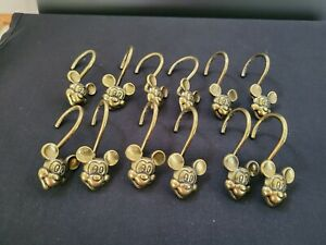 Set Of 12 Disney Mickey Mouse Antique Gold Brass Shower Curtain Hooks