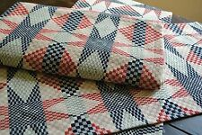 """PRIMITIVE AMERICAN STAR THROW BLUE RED BEIGE 52""""x74"""" WOVEN"""