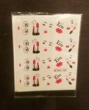 Nail Art Stickers Lipstick/Kiss/Glasses/Fac e Design (Water Transfer) 1 Sheet