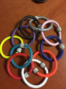 MULTI COLOURED CORD MAGNETIC FASTENING BRACELET WITH STONE LOCK