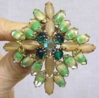 Vtg Jewelry Art Glass Brooch Green Cream Navettes Dark Green Rhinestones