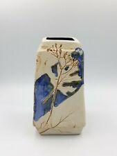 Vase carré grès fleur incisée no vallauris capron raymonde leduc