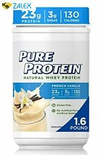 Natural Whey Protein Powder by Pure Protein, Gluten Free, French Vanilla, 1.6lbs